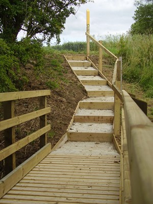 New footpath bridge & steps at Hallaton Leicestershire
