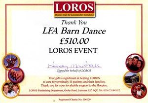 LFA Barn Dance donation to LOROS