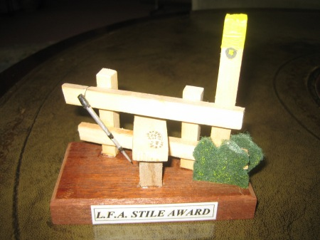Awarded to Alan D. 43 stiles in a 6 mile Tuesday walk