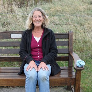 Sue on her mother's seat near Gumley