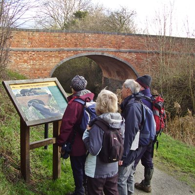 Grantham canal information board at Clark's bridge