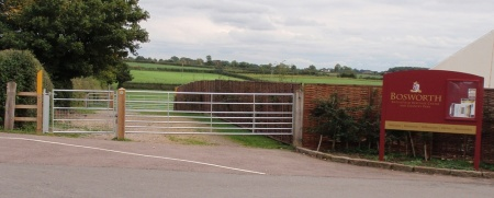 The new bridleway gates and field gates at the start of the section to Sutton Cheney.
