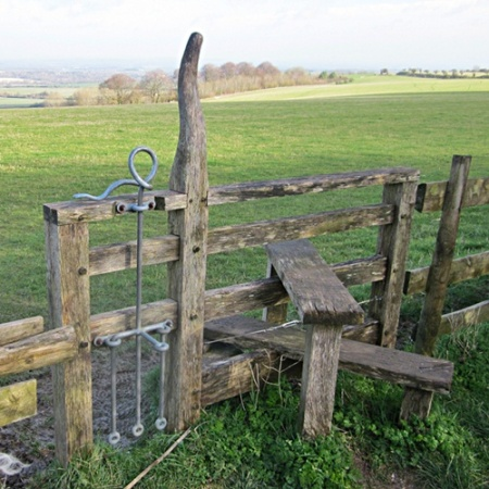 An arty dog latch on access land near Segsbury Fort
