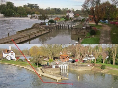Goring lock on the Thames - top December 2013, bottom February 2014