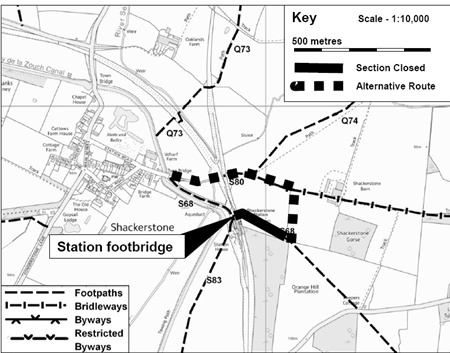 Temporary diversion of S68 at Shackerstone station