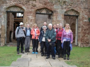 Saturday walkers at the entrance to the Castle