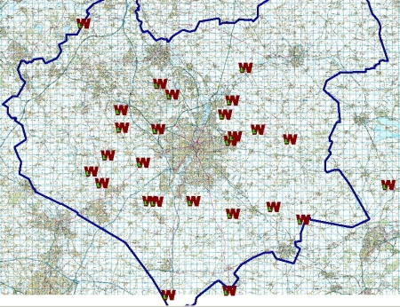 Map of start points for the Wednesday longer walks, summer 2014