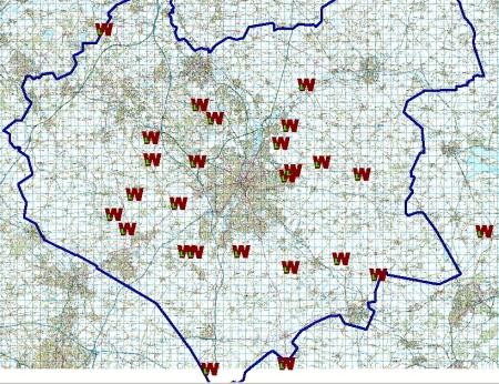 Map of start points for the Wednesday longer walks, summer 2014