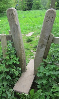 A distinctive stile on permissive paths around Staunton Harold