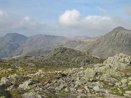Scafell Pike and Bow Fell from Crinkle Crags Long Top