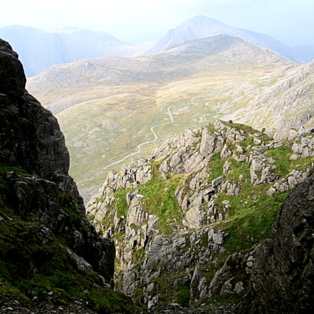 From Lord's Rake the well worn path to the summit of Scafell Pike looks like a road.