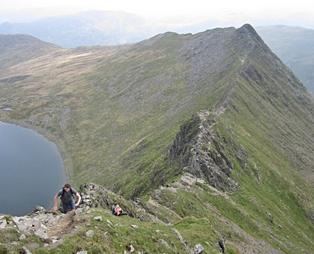 The final steep climb from Striding Edge
