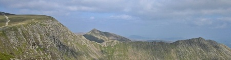 Looking north over Striding Edge with Catstye Cam beyond