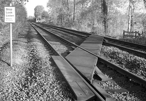 Footpath crossing the Wreak valley railway line