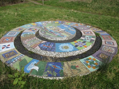 Trail of Life by Zahir Shaikh - Concrete and Mosaic tiles