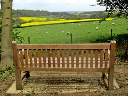 Jack Atton and Terry Darby's seat with a fine view across to Little Dalby